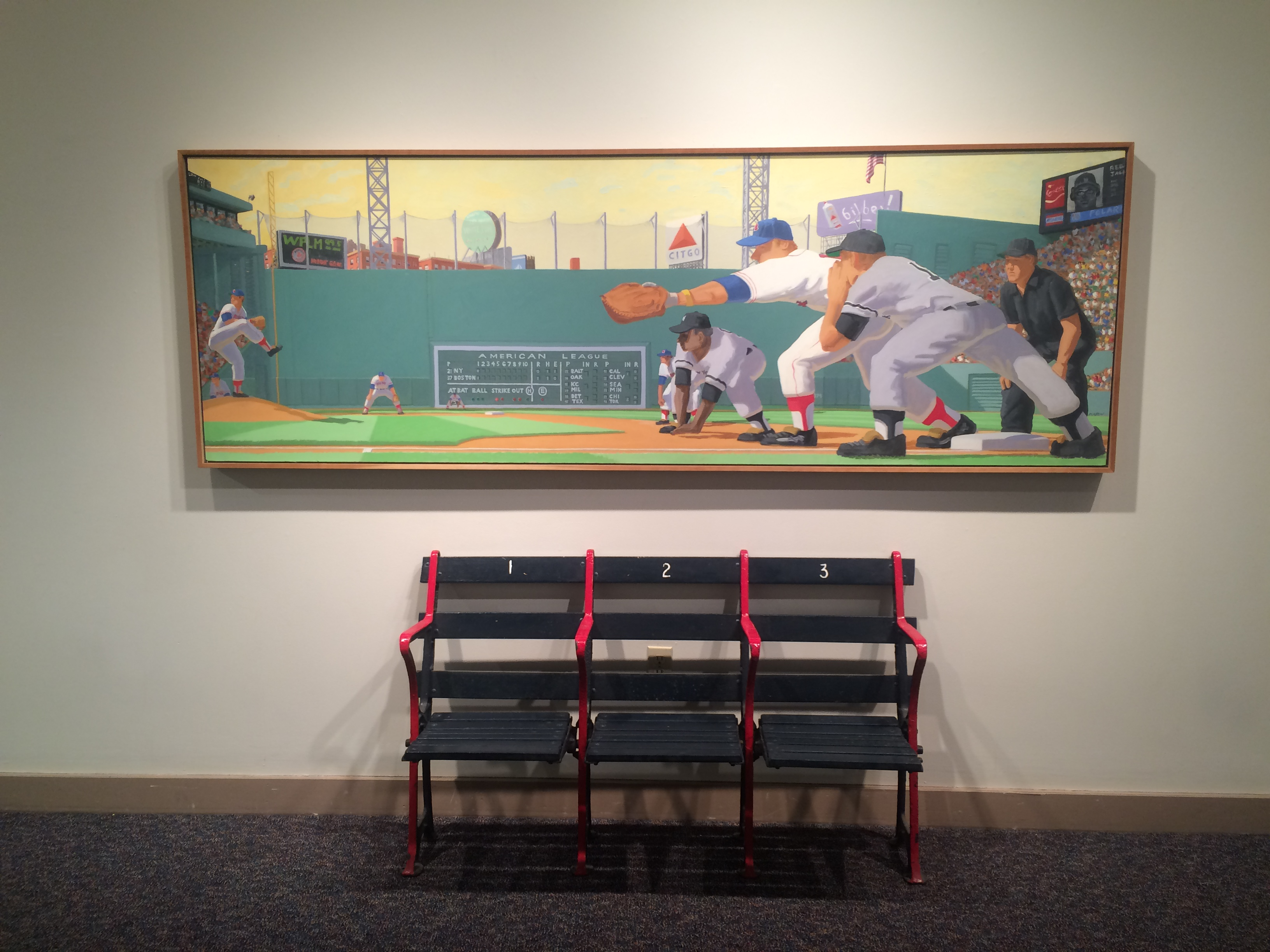 Mason's Fenway Park features a classic rivalry between the Yankees and Red Sox. This exact painting is now on permanent display in the Melvoin Academic Center.